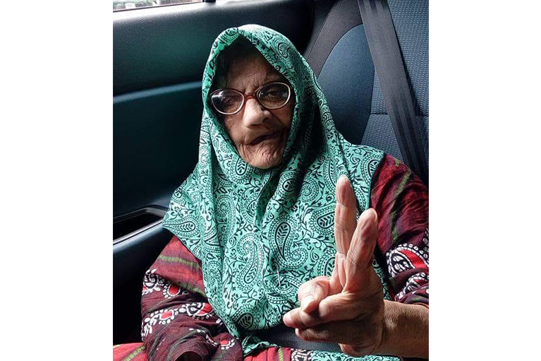 Meanwhile, here's my grandma saying peace out.